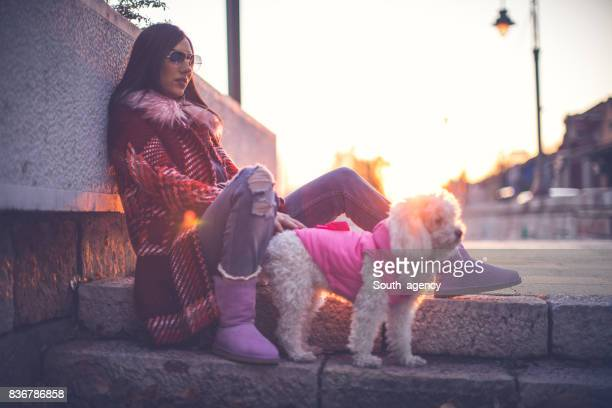 Girl with her pet friend