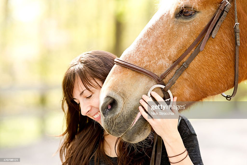 girl with horse : Stock Photo