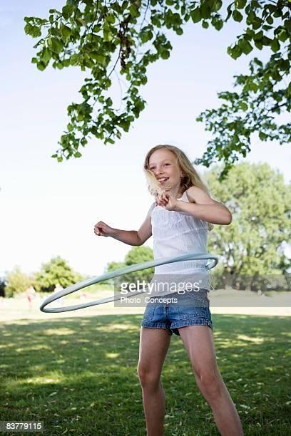 Girl with hula-hoop