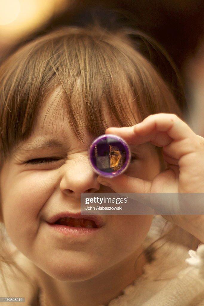 Girl with Kaleidoscope : Stock Photo