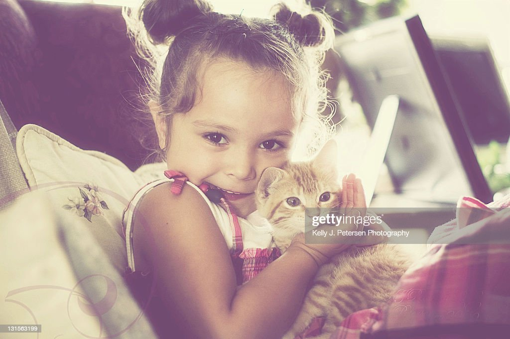 Girl with kitten : Stock Photo