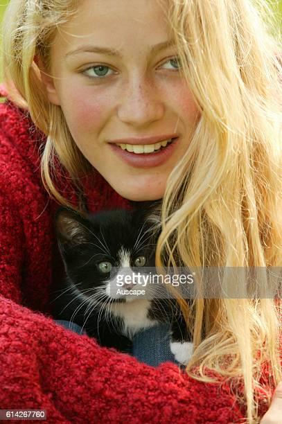 Girl with kitten