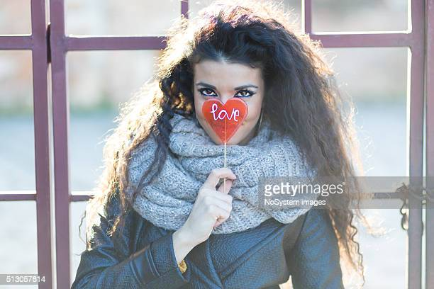 Girl with love lollipop