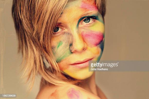 Girl with paint on the face