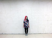 girl, pink hair,individuality, concrete wall