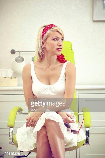 Girl with polka dots head band : Stock Photo