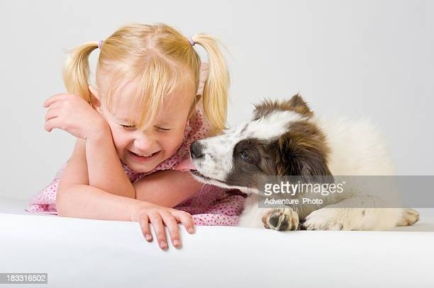Girl with Puppy Acting Silly
