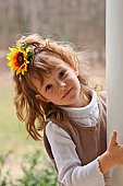 Girl with Sunflower in Hair