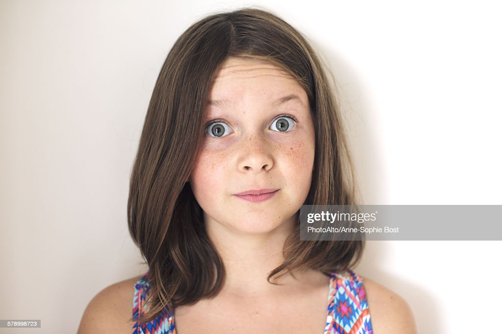 Girl With Surprised Expression On Face Portrait Stock ...