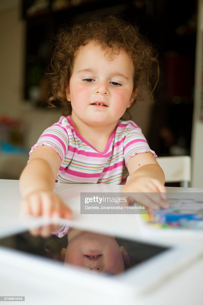 girl with tablet : Stock Photo