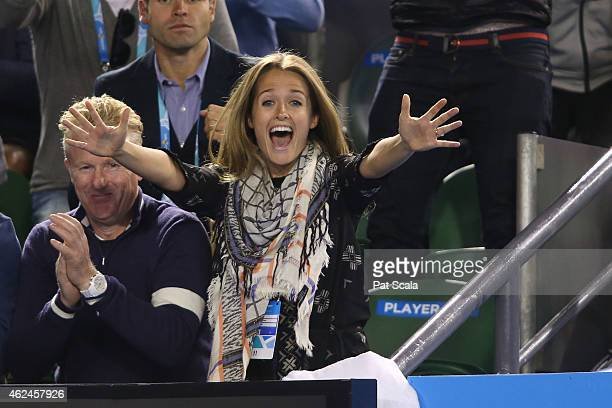 Girlfriend of Andy Murray Kim Sears celebrates as Andy Murray of Great Britain wins his semifinal match against Tomas Berdych of the Czech Republic...