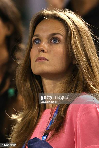 Girlfriend of Andy Murray Kim Sears celebrates as he wins his second round match against Vincent Millot of France during day four of the 2014...