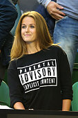 Girlfriend of Andy Murray Kim Sears looks on ahead of his men's final match against Novak Djokovic of Serbia during day 14 of the 2015 Australian...