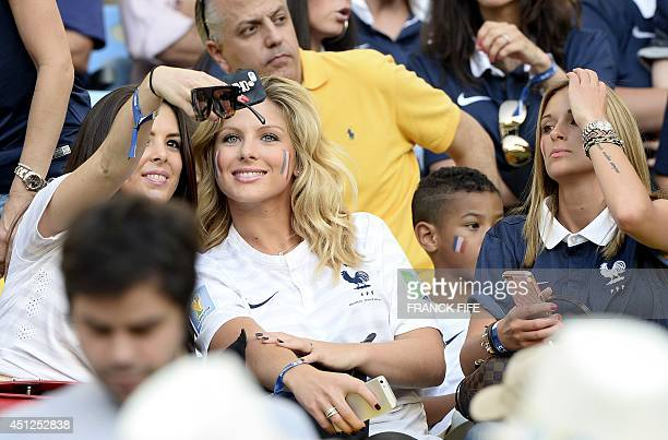 Girlfriend of France's midfielder Paul Pogba and Camille Tytgat the girlfriend of France's defender Raphael Varane attend the Group E football match...