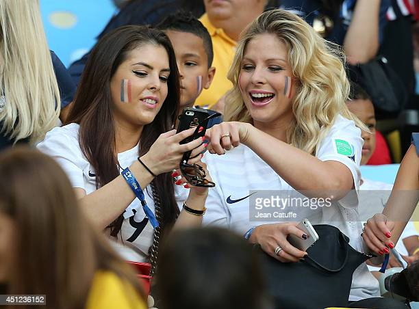 Girlfriend of Paul Pogba of France and Camille Tytgat girlfriend of Raphael Varane of France attend the 2014 FIFA World Cup Brazil Group E match...