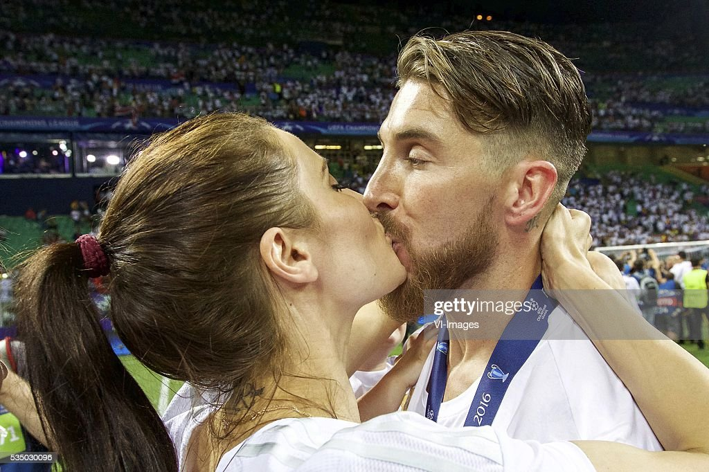 girlfriend Pilar Rubio, Sergio Ramos of Real Madrid during the UEFA Champions League final match between Real Madrid and Atletico Madrid on May 28, 2016 at the Giuseppe Meazza San Siro stadium in Milan, Italy.