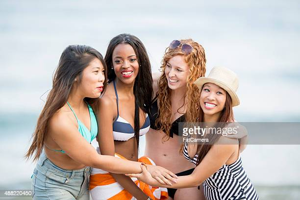 Girlfriends Hanging Out at the Beach