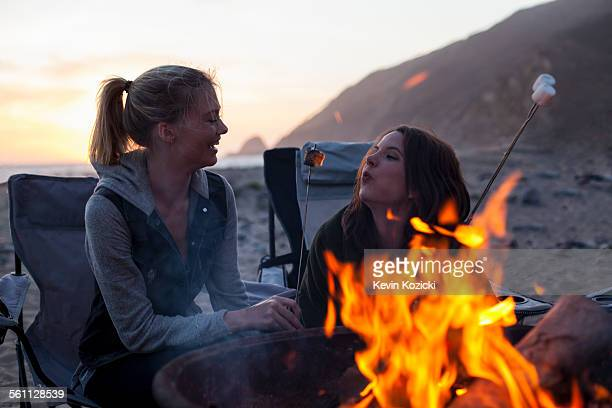 Girlfriends having barbecue on beach, Malibu, California, USA