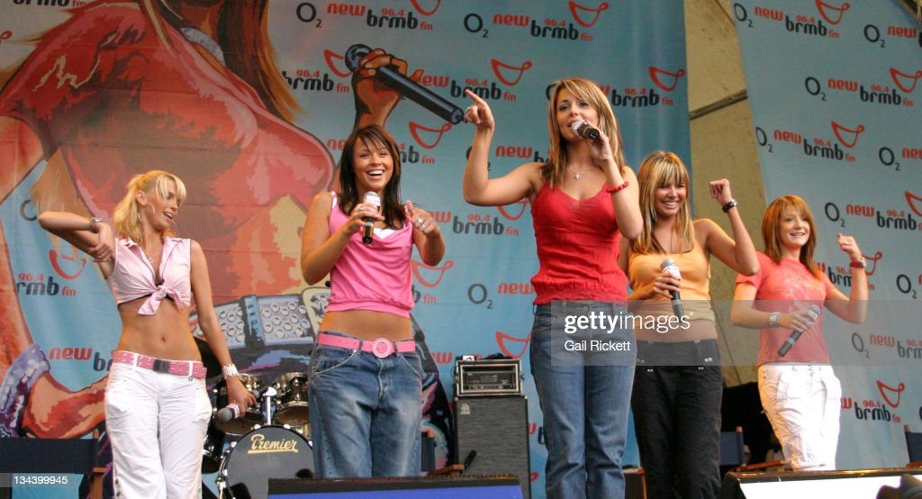 <a gi-track='captionPersonalityLinkClicked' href=/galleries/search?phrase=Girls+Aloud&family=editorial&specificpeople=212984 ng-click='$event.stopPropagation()'>Girls Aloud</a> during The New 96.4 BRMB's 'Party in the Park' 2004 Sponsored by O2 Music at Cannon Hill Park in Birmingham, Great Britain.