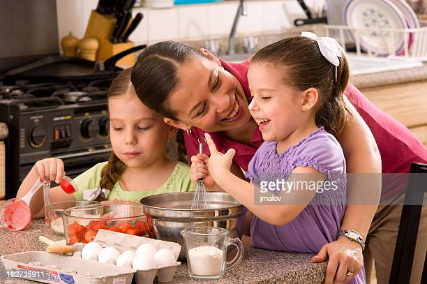 Girls and Mom at the Kitchen