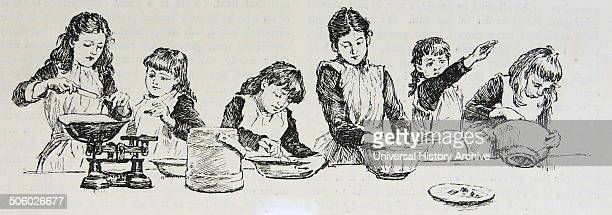 Girls at a London Boarding School during their practical cookery class Engraving London 1891 Photo by