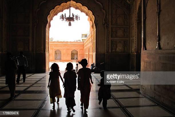 Girls at Badshahi Mosque