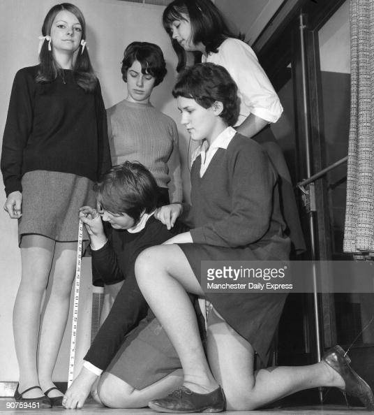 Girls at Chester City High School checking the length of skirts �Prefects have been measuring the skirts of the 625 pupils at the school For each...