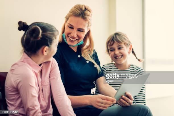 Girls at dentist office