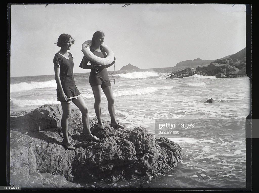 Mädchen am Strand-Vintage Foto : Stock-Foto
