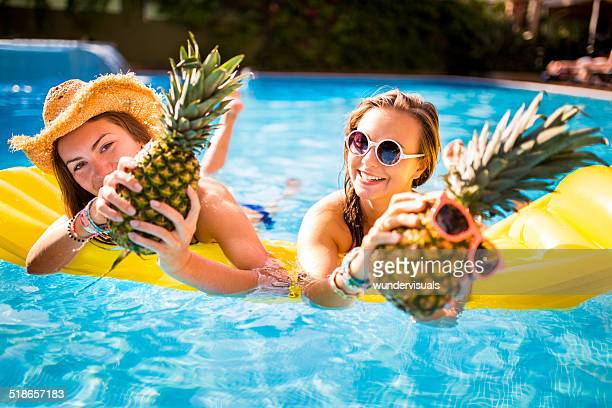 Girls Being Silly in Pool