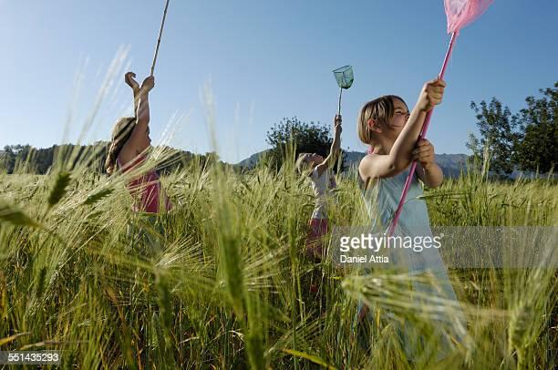 Girls Catching Butterflies
