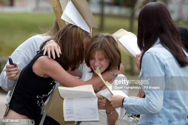 Girls celebrate getting thier GCSE results at Emmanuel Collage in Gateshead