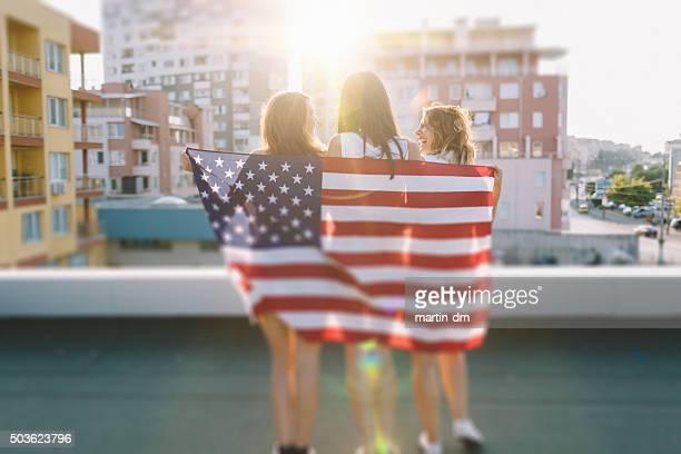 Girls celebrating 4th of July