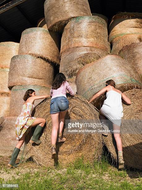 Girls climbing onto bale of hay