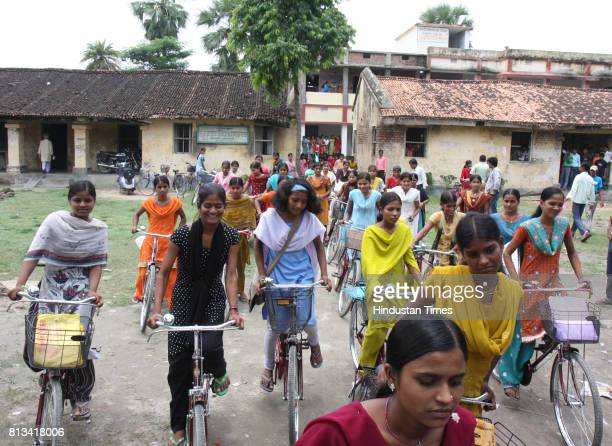 Girls coming of High School Desari in Vaishali district in Bihar on the bicycles provided under the cycle scheme of the state government