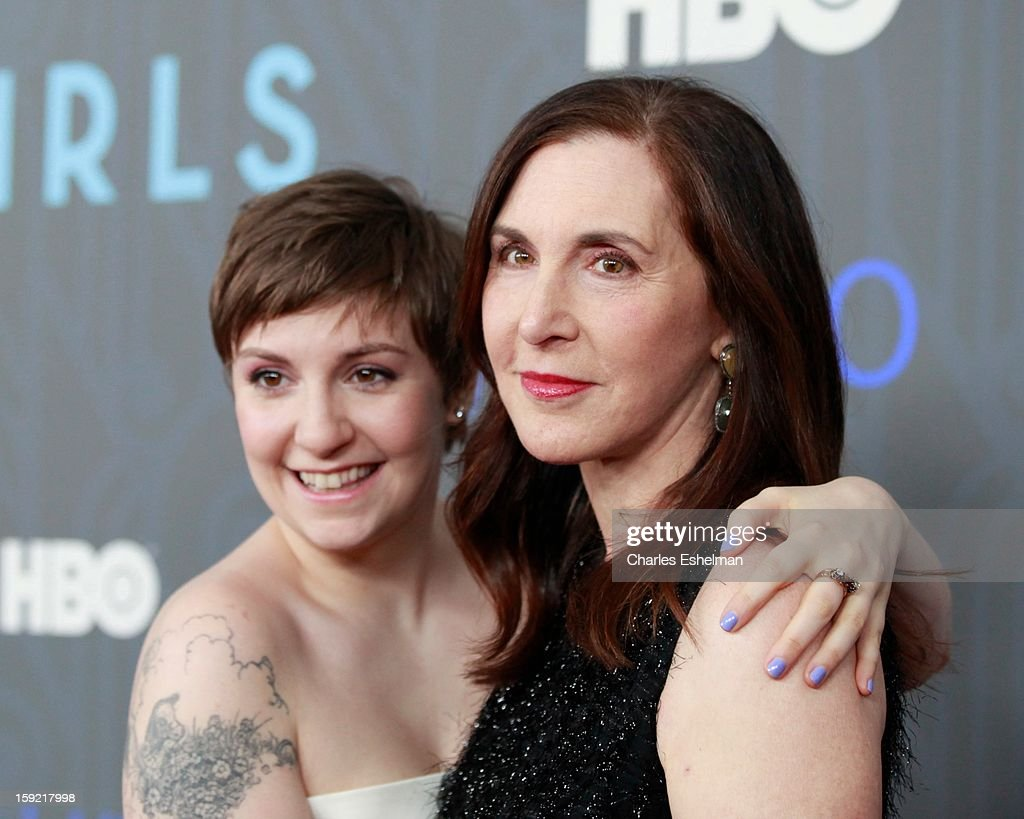 'Girls' creator <a gi-track='captionPersonalityLinkClicked' href=/galleries/search?phrase=Lena+Dunham&family=editorial&specificpeople=5836535 ng-click='$event.stopPropagation()'>Lena Dunham</a> and mother Laurie Simmons attend HBO hosts the premiere of 'Girls' Season 2 at the NYU Skirball Center on January 9, 2013 in New York City.