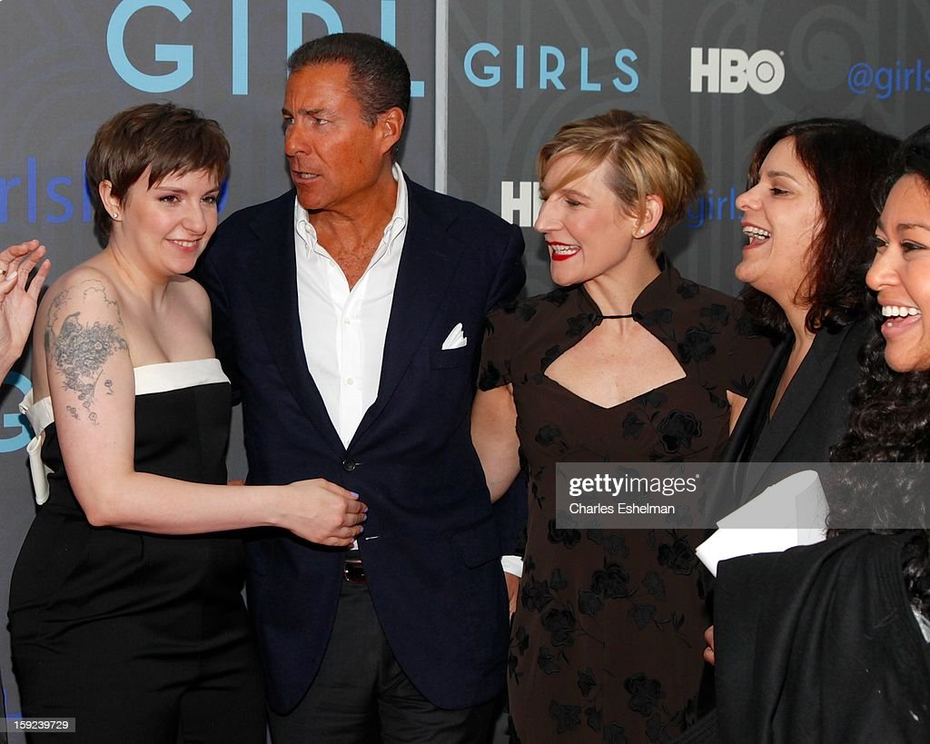 'Girls' Creator <a gi-track='captionPersonalityLinkClicked' href=/galleries/search?phrase=Lena+Dunham&family=editorial&specificpeople=5836535 ng-click='$event.stopPropagation()'>Lena Dunham</a>, HBO CEO <a gi-track='captionPersonalityLinkClicked' href=/galleries/search?phrase=Richard+Plepler&family=editorial&specificpeople=584118 ng-click='$event.stopPropagation()'>Richard Plepler</a>, HBO President Sue Naegle and executive producer Ilene Landress attend attends HBO hosts the premiere of 'Girls' Season 2 at the NYU Skirball Center on January 9, 2013 in New York City.