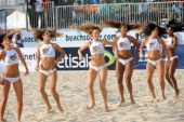 Girls dance prior to the final match in the third edition of the yearly COPA Lagos beach soccer in Lagos on December 15 2013 Nigeria defeated African...