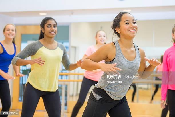 Girls Dancing Together in Zumba Class