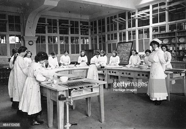 Girls domestic class Rowntrees factory York Yorkshire 1913 The girls are making pastry