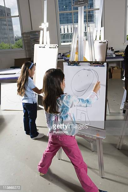 Girls drawing on easels in art class
