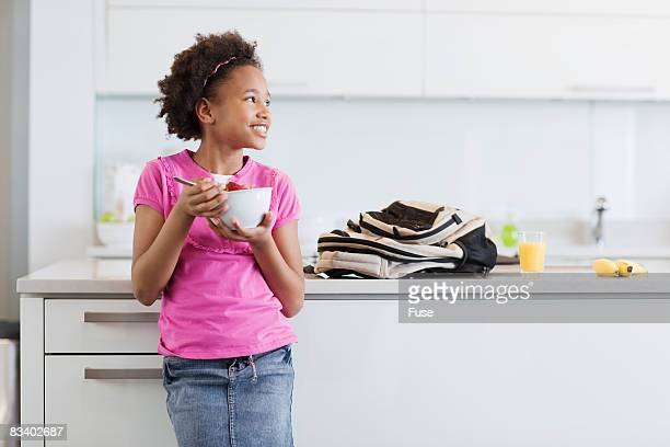 Girls Eating Breakfast Before School