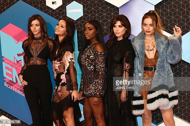 MTV IT Girls Eleanor Calder Monica Geuze Sandra Lambeck Betty Autier and Sonya Esman pose on the red carpet at the MTV Europe Music Awards on...