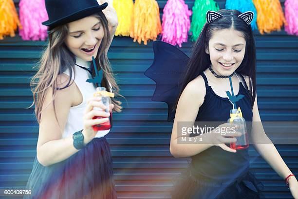 Girls enjoy Halloween party