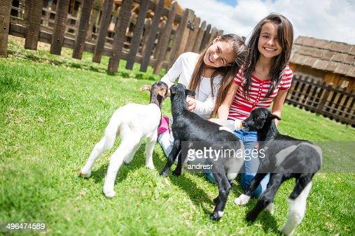 Girls feeding the goats