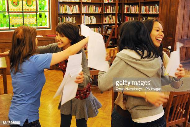 Girls from Central High School in Newcastle celebrate their A level results