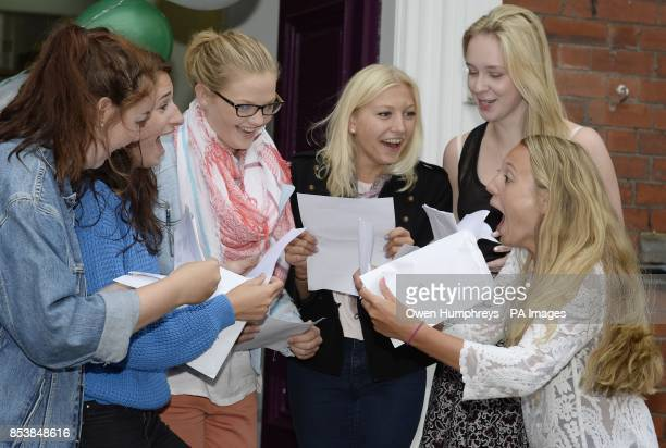 Girls from Newcastle High School in Jesmond Newcastle celebrate their Alevel results as official figures show that more Alevels were handed the very...