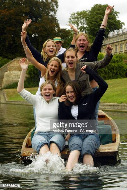Girls From St Mary's school Cambridge celebrate getting their GCSE results by punting on the River Cam by King's College