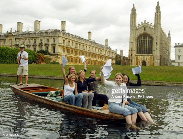 Girls From St Mary's SchoolCambridge celebrate getting their GCSE results by punting on the River Cam By King's College