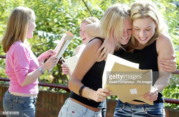Girls from the Emmanuel College in Gateshead LR Lauren Kirkwood and Lynsey Marley celebrate thier Alevel results Girls have once again beat the boys...